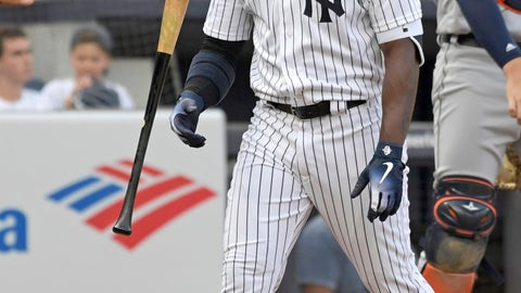 <p>               New York Yankees' Andrew McCutchen flips his bat after striking out during the fourth inning of a baseball game against the Detroit Tigers, Saturday, Sept. 1, 2018, at Yankee Stadium in New York. (AP Photo/Bill Kostroun)             </p>