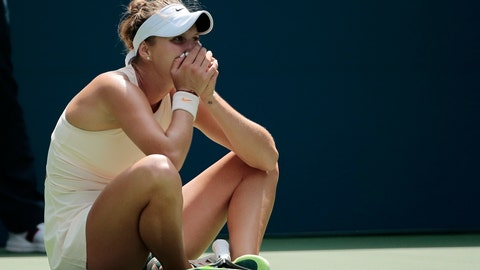 <p>               Marketa Vondrousova, of the Czech Republic, reacts after defeating Kiki Bertens, of the Netherlands, during the third round of the U.S. Open tennis tournament, Saturday, Sept. 1, 2018, in New York. (AP Photo/Andres Kudacki)             </p>