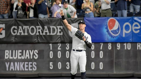<p>               New York Yankees right fielder Aaron Judge gets an ovation from the fans as he warms up coming into the baseball game in the eighth inning against the Toronto Blue Jays Friday, Sept. 14, 2018, at Yankee Stadium in New York. (AP Photo/Bill Kostroun)             </p>