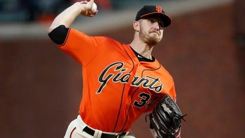 <p>               San Francisco Giants starting pitcher Chris Stratton (34) throws against the Colorado Rockies during the first inning of a baseball game in San Francisco, Friday, Sept. 14, 2018. (AP Photo/Tony Avelar)             </p>