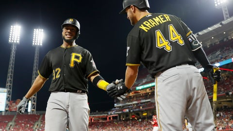 <p>               Pittsburgh Pirates' Elias Diaz, left, celebrates with Kevin Kramer (44) after hitting a solo home run off Cincinnati Reds starting pitcher Anthony DeSclafani during the fourth inning of a baseball game Friday, Sept. 28, 2018, in Cincinnati. (AP Photo/John Minchillo)             </p>