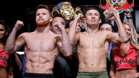 <p>               FILE - In this Sept. 15, 2017, file photo, Canelo Alvarez, left, and Gennady Golovkin pose during a weigh-in in Las Vegas. Golovkin's trainer says his fighter was insulted when Alvarez tested positive for a performance enhancing drug that caused their planned May middleweight title rematch to be postponed. (AP Photo/John Locher, File)             </p>