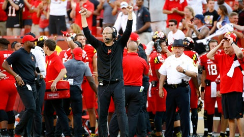 <p>               FILE - In this Sept. 1, 2018, file photo, Maryland interim head coach Matt Canada, center, gestures in the final moments of an NCAA college football game against Texas, in Landover, Md. Making the best of a bad situation, Maryland is unbeaten after two games and garnering votes in the Top 25 poll while playing for fallen teammate Jordan McNair and without head coach DJ Durkin.  (AP Photo/Patrick Semansky, File)             </p>