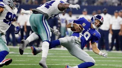 <p>               New York Giants quarterback Eli Manning (10) falls after taking a hit from Dallas Cowboys linebacker Jaylon Smith (54) during the second half of an NFL football game in Arlington, Texas, Sunday, Sept. 16, 2018. (AP Photo/Michael Ainsworth)             </p>