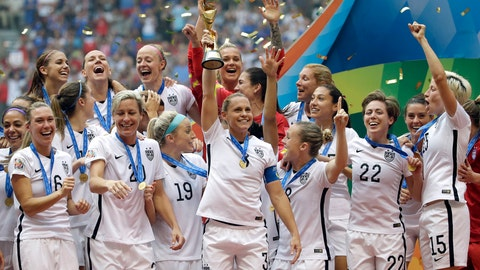 "<p>               FILE - In this, July 5, 2015 file photo, the United States Women's National Team celebrates with the trophy after they beat Japan 5-2 in the FIFA Women's World Cup soccer final in Vancouver, British Columbia, Canada. FIFA is making a concession to women's football and will start funding business-class flights for some 2019 Women's World Cup teams' travel to France. FIFA official Emily Shaw also tells a women's sports law conference total prize money will ""significantly increase"" from $15 million shared among 24 teams at the 2015 edition. (AP Photo/Elaine Thompson, File)             </p>"