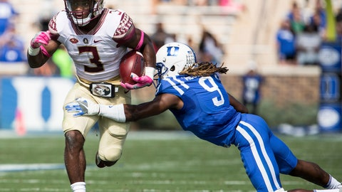 <p>               File - In this Oct. 14, 2017, file photo, Florida State's Cam Akers (3) carries the ball as Jeremy McDuffie (9) attempts a tackle during the first half of an NCAA college football game in Durham, N.C. Florida State takes on Virginia Tech on Monday, Sept. 3, 2018. (AP Photo/Ben McKeown, File)             </p>