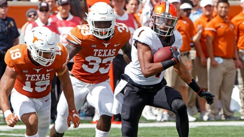 <p>               FILE - In this Oct. 21, 2017, file photo, Oklahoma State receiver Jalen McCleskey (1) runs after a catch against Texas defenders Brandon Jones (15) and Gary Johnson (33) during the second half of an NCAA college football game in Austin, Texas. A new NCAA policy that makes it easier to redshirt football players comes with an unintended consequence: Players can now leave their teams after playing four games with plans to transfer and take the saved year of eligibility to a new school. Several upperclassmen who would have been out of eligibility had they kept playing this season have already taken this route, including McCleskey. (AP Photo/Michael Thomas, File)             </p>