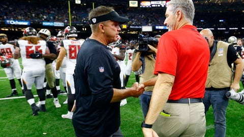 <p>               New Orleans Saints head coach Sean Payton shakes hands with Tampa Bay Buccaneers head coach Dirk Koetter, right, after an NFL football game in New Orleans, Sunday, Sept. 9, 2018. The Buccaneers won 48-40. (AP Photo/Butch Dill)             </p>