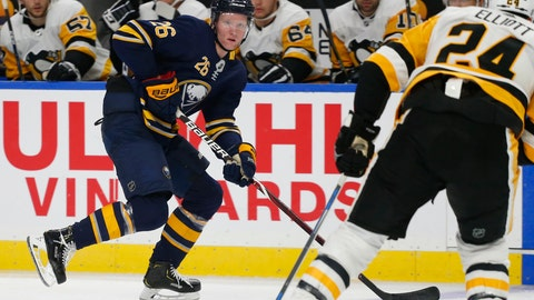 <p>               FILE - In this Sept. 18, 2018, file photo, Buffalo Sabres defenseman Rasmus Dahlin (26) brings the puck into the Pittsburgh Penguins zone during the third period of an NHL preseason hockey game,in Buffalo N.Y. Dahlin has already created a buzz in Buffalo with his smooth-skating and heads-up play-making abilities. (AP Photo/Jeffrey T. Barnes, File)             </p>