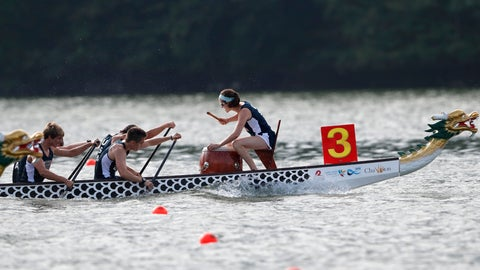 <p>               In this Thursday, Sept. 13, 2018 photo, a drummer sets the paces as a dragon boat crew from the USA paddles for the finish line during a 500-meter heat at the ICF Dragon Boat Championships,in Gainesville, Ga. (AP Photo/John Bazemore)             </p>
