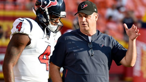 """<p>               FILE - In this Aug. 9, 2018, file photo, Houston Texans quarterback Deshaun Watson (4) listens to head coach Bill O'Brien before an NFL preseason football game against the Kansas City Chiefs in Kansas City, Mo. The Texans fired back at an East Texas school superintendent who wrote: """"You can't count on a black quarterback,"""" in the comment section of an online news article where he was criticizing Watson. O 'Brien called the comments """"outdated, inaccurate, ignorant and idiotic."""" Watson said he didn't waste time worrying about the post. (AP Photo/Ed Zurga, File)             </p>"""