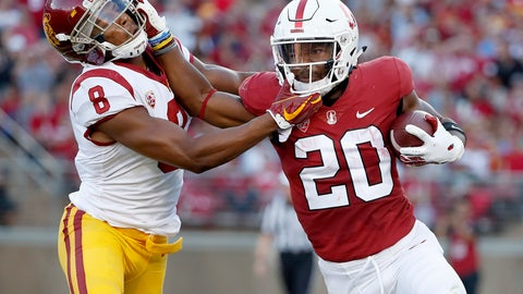 <p>               Stanford running back Bryce Love (20) stiff-arms Southern California cornerback Iman Marshall (8) during the first half of an NCAA college football game, Saturday, Sept. 8, 2018, in Stanford, Calif. (AP Photo/Tony Avelar)             </p>