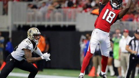 <p>               Atlanta Falcons wide receiver Calvin Ridley (18) makes the catch against New Orleans Saints cornerback Ken Crawley (20) during the first half of an NFL football game, Sunday, Sept. 23, 2018, in Atlanta. (AP Photo/Mark Humphrey)             </p>