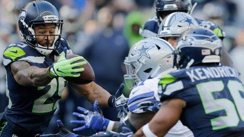 <p>               Seattle Seahawks free safety Earl Thomas, left, intercepts a pass intended for Dallas Cowboys tight end Blake Jarwin (obscured) during the second half of an NFL football game, Sunday, Sept. 23, 2018, in Seattle. It was Thomas' second interception of the game. (AP Photo/John Froschauer)             </p>
