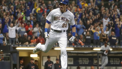 <p>               Milwaukee Brewers' Christian Yelich celebrates after hitting a home run during the seventh inning of a baseball game against the Detroit Tigers Saturday, Sept. 29, 2018, in Milwaukee. (AP Photo/Morry Gash)             </p>