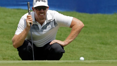 <p>               FILE - In this Aug. 18, 2017, file photo, Hunter Mahan lines up a putt on the 18th hole during the second round of the Wyndham Championship golf tournament in Greensboro, N.C. Mahan, who has endured a slump and the death of his sister-in-law, earned his way back to the PGA Tour. (AP Photo/Chuck Burton, File)             </p>