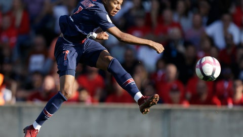 <p>               FILE - In this Sept. 1, 2018 fie photo, PSG's Kylian Mbappe kicks the ball during the League One soccer match between Nimes and Paris Saint-Germain at Jean-Bouin stadium in Nimes, southern France. The spotlight will be on Kylian Mbappe when Paris Saint-Germain plays at Nice on Saturday Sept. 29, 2018, as the 19-year-old France star returns from a three-game suspension with questions being raised about his attitude. (AP Photo/Claude Paris, File)             </p>