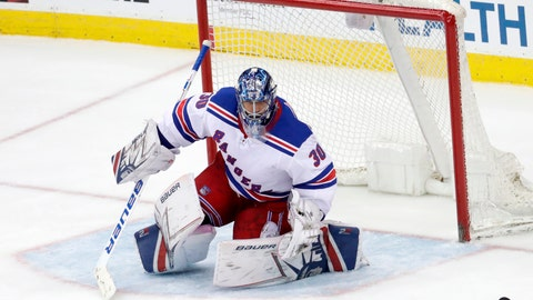 <p>               FILE - In this April 3, 2018 file photo New York Rangers goaltender Henrik Lundqvist, of Sweden, protects his net against the New Jersey Devils during the third period of an NHL hockey game in Newark, N.J. Lundqvist is entering his 14th season in the NHL, having spent his entire career with the New York Rangers. And although the team is in a rebuilding mode for a future run at their first Stanley Cup title since 1994, the 36-year-old goalie wants to stick around and be a part of that process. (AP Photo/Julio Cortez)             </p>