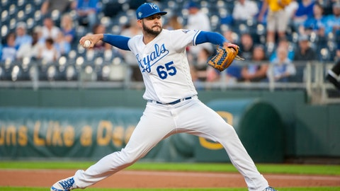 Sep 10, 2018; Kansas City, MO, USA; Kansas City Royals starting pitcher Jakob Junis (65) throws a pitch in the first inning against the Chicago White Sox at Kauffman Stadium. Mandatory Credit: Amy Kontras-USA TODAY Sports Kansas City Royals