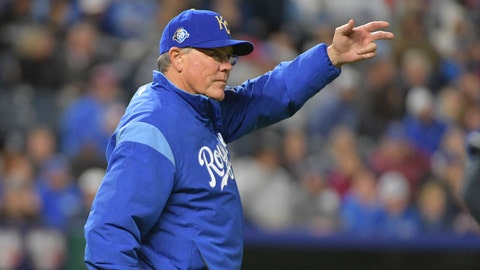 Sep 28, 2018; Kansas City, MO, USA; Kansas City Royals manager Ned Yost (3) motions for a pitcher change in the seventh inning against the Cleveland Indians at Kauffman Stadium. Mandatory Credit: Denny Medley-USA TODAY Sports