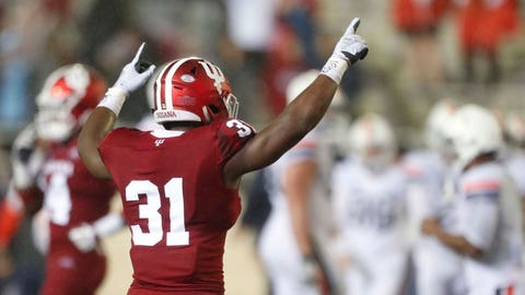 Sep 8, 2018; Bloomington, IN, USA; Indiana Hoosiers defensive back Bryant Fitzgerald (31) celebrates the win after the game against the Virginia Cavaliers at Memorial Stadium . Mandatory Credit: Brian Spurlock-USA TODAY Sports
