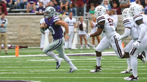 Sep 8, 2018; Manhattan, KS, USA; Kansas State Wildcats quarterback Skylar Thompson (10) is chased by Mississippi State Bulldogs defensive end Kobe Jones (52) during the fourth quarter at Bill Snyder Family Stadium. The Bulldogs won 31-10. Mandatory Credit: Scott Sewell-USA TODAY Sports