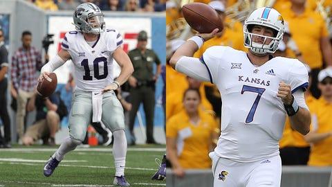 Kansas State quarterback Skylar Thompson (left) and Kansas QB Peyton Bender have struggled.