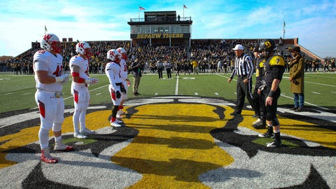Coin toss before the 2017 Monon Bell Classic featuring Wabash vs. DePauw.
