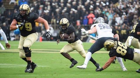 Sep 8, 2018; West Lafayette, IN, USA; Purdue Boilermakers running back Markell Jones (8) follows the blocking of offensive lineman Matt McCann (79) against the Eastern Michigan Eagles at Ross-Ade Stadium. Mandatory Credit: Sandra Dukes-USA TODAY Sports
