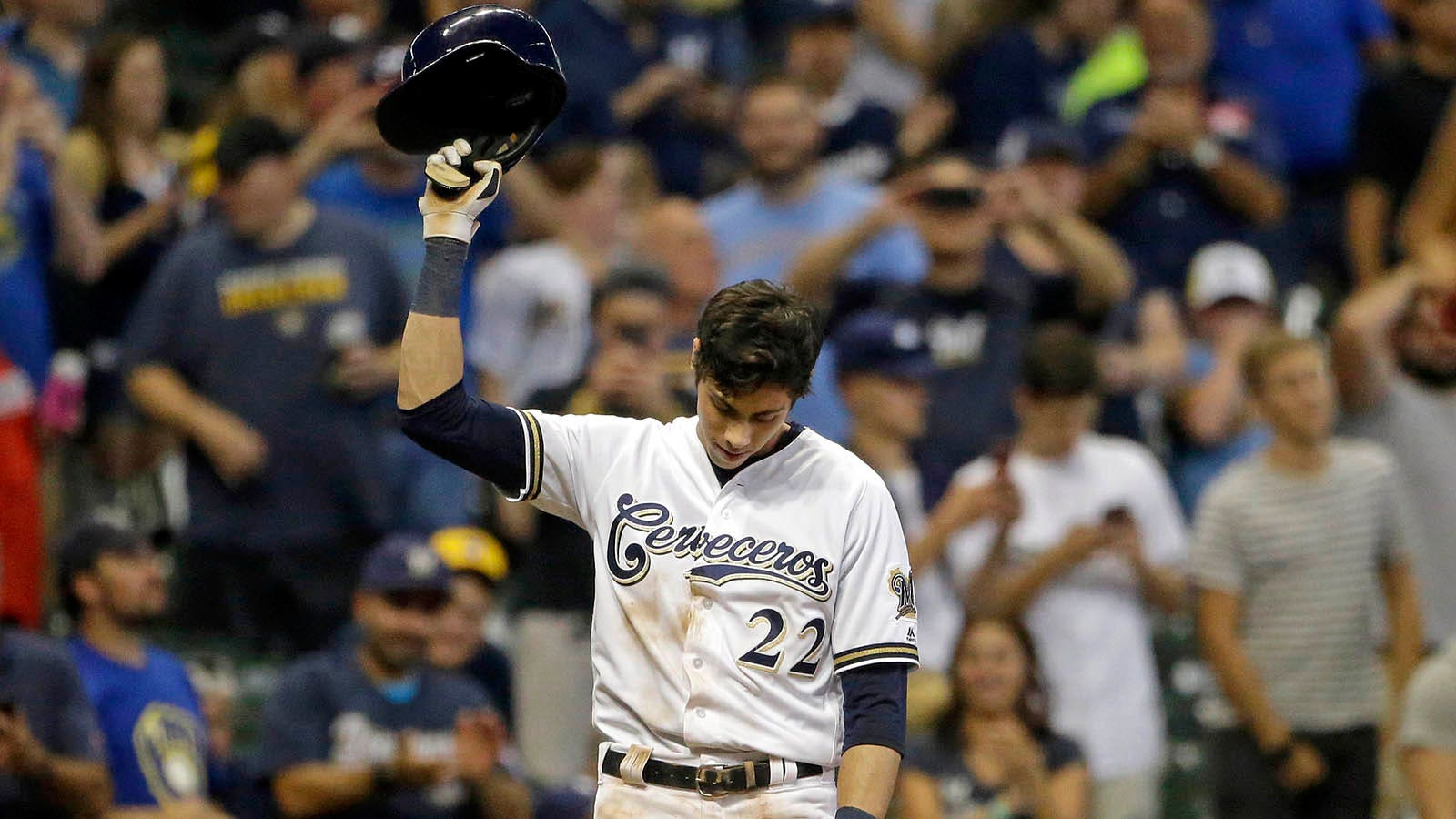 buy online cf2f2 7e331 Yelich's second cycle of season leads Brewers to 8-0 win ...