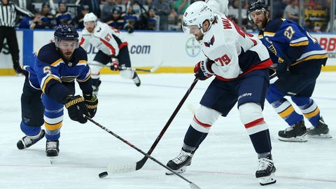 St. Louis Blues defenseman Joel Edmundson, left, and Washington Capitals left wing Nathan Walker (79), of Wales, vie for control of the puck during the first period of a preseason NHL hockey game Tuesday, Sept. 25, 2018, in St. Louis. (AP Photo/Scott Kane)
