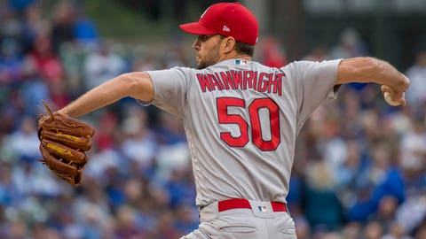 Sep 28, 2018; Chicago, IL, USA; St. Louis Cardinals starting pitcher Adam Wainwright (50) pitches during the first inning against the Chicago Cubs at Wrigley Field. Mandatory Credit: Patrick Gorski-USA TODAY Sports