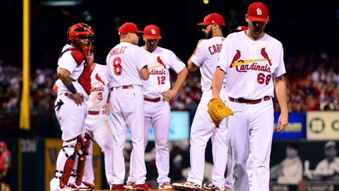 Sep 13, 2018; St. Louis, MO, USA; St. Louis Cardinals starting pitcher Austin Gomber (68) walks off the field after being removed from the game during the fourth inning against the Los Angeles Dodgers at Busch Stadium. Mandatory Credit: Jeff Curry-USA TODAY Sports