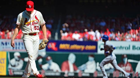 Sep 15, 2018; St. Louis, MO, USA; St. Louis Cardinals starting pitcher John Gant (53) looks on after giving up a two run home run to Los Angeles Dodgers shortstop Manny Machado (8) during the first inning at Busch Stadium. Mandatory Credit: Jeff Curry-USA TODAY Sports