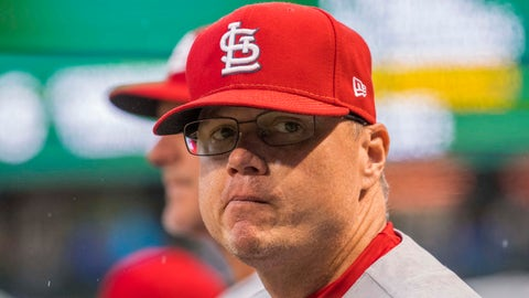 Sep 28, 2018; Chicago, IL, USA; St. Louis Cardinals manager Mike Shildt (8) reacts during the seventh inning against the Chicago Cubs at Wrigley Field. Mandatory Credit: Patrick Gorski-USA TODAY Sports