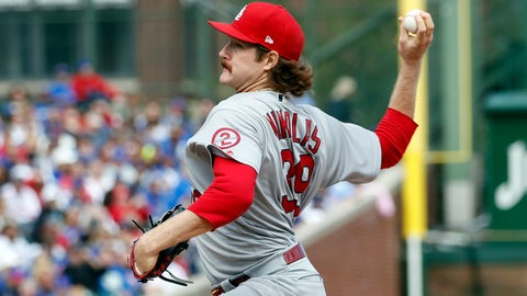 Sep 29, 2018; Chicago, IL, USA; St. Louis Cardinals starting pitcher Miles Mikolas (39) delivers against the Chicago Cubs during the first inning at Wrigley Field. Mandatory Credit: Kamil Krzaczynski-USA TODAY Sports