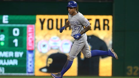 Sep 19, 2018; Pittsburgh, PA, USA;  Kansas City Royals shortstop Adalberto Mondesi (27) circles the bases on a solo home run against the Pittsburgh Pirates during the third inning at PNC Park. Mandatory Credit: Charles LeClaire-USA TODAY Sports