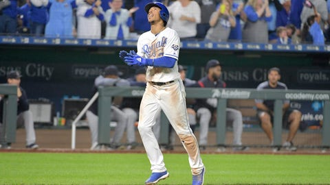 Sep 29, 2018; Kansas City, MO, USA; Kansas City Royals shortstop Adalberto Mondesi (27) celebrates while running to home plate after hitting a three run home run in the sixth inning against the Cleveland Indians at Kauffman Stadium. Mandatory Credit: Denny Medley-USA TODAY Sports