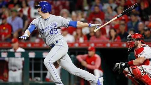 Kansas City Royals' Heath Fillmyer watches his RBI double off Cincinnati Reds relief pitcher Matt Wisler during the sixth inning of a baseball game Wednesday, Sept. 26, 2018, in Cincinnati. (AP Photo/John Minchillo)