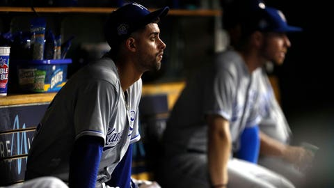 Sep 20, 2018; Detroit, MI, USA; Kansas City Royals relief pitcher Jorge Lopez (52) sits in the dugout after getting taken out of the game during the second inning against the Detroit Tigers at Comerica Park. Mandatory Credit: Raj Mehta-USA TODAY Sports