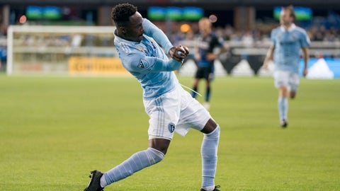 September 15, 2018; San Jose, CA, USA; Sporting Kansas City forward Gerso (12) celebrates after scoring a goal against the San Jose Earthquakes during the first half at Avaya Stadium. Mandatory Credit: Kyle Terada-USA TODAY Sports
