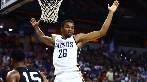 Jul 7, 2018; Las Vegas, NV, USA; Indiana Pacers forward Ben Moore (26) celebrates after dunking the ball against the San Antonio Spurs during an NBA Summer League game at the Thomas & Mack Center. Mandatory Credit: Mark J. Rebilas-USA TODAY Sports