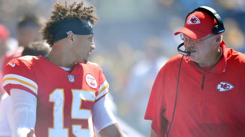 Sep 9, 2018; Carson, CA, USA; Kansas City Chiefs quarterback Patrick Mahomes (15) talks with head coach Andy Reid (right) during the second quarter at StubHub Center. Mandatory Credit: Jake Roth-USA TODAY Sports
