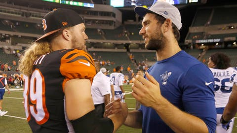 Aug 30, 2018; Cincinnati, OH, USA; Cincinnati Bengals running back Ryan Hewitt (89) and Indianapolis Colts quarterback Andrew Luck (12) shake hands at the end of their game at Paul Brown Stadium. Mandatory Credit: David Kohl-USA TODAY Sports