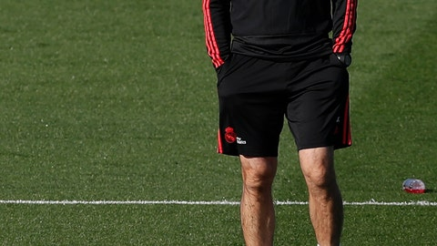<p>               Real Madrid's coach Julen Lopetegui attends a training session at the team's Valdebebas training ground in Madrid, Spain, Monday, Oct. 22, 2018. Real Madrid will play against Viktoria Plzena in a Champions League group G soccer match on Tuesday. (AP Photo/Manu Fernandez)             </p>