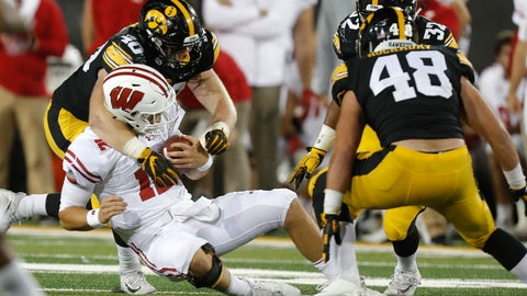 <p>               FILE - In this Sept. 22, 2018, file photo, Iowa defensive end Parker Hesse, left, tackles Wisconsin quarterback Alex Hornibrook, during the second half of an NCAA college football game, in Iowa City. Iowa is No. 4 in the FBS, allowing just 84.0 yards per game. (AP Photo/Matthew Putney, File)             </p>