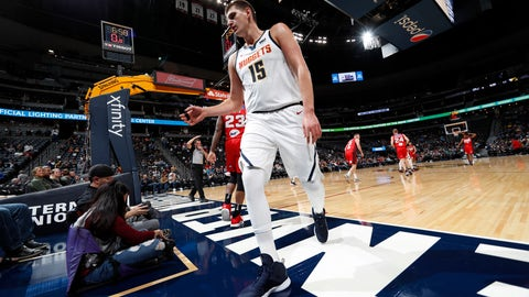 <p>               FILE--In this Friday, Oct. 5, 2018, file photograph, Denver Nuggets center Nikola Jokic waits to put the ball in play against Perth in the first half of a preseason basketball game in Denver. The Nuggets are banking on Jokic to lead the team into the NBA playoffs in the highly-competitive Western Conference in the season ahead. (AP Photo/David Zalubowski, File)             </p>
