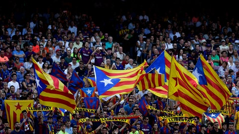 """<p>               FC Barcelona's supporters hold """"estelada flags, that symbolise Catalonia's independence during the Spanish La Liga soccer match between FC Barcelona and Athletic Bilbao at the Camp Nou stadium in Barcelona, Spain, Saturday, Sept. 29, 2018. (AP Photo/Manu Fernandez)             </p>"""
