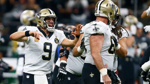<p>               New Orleans Saints quarterback Drew Brees (9) celebrates after he broke the NFL all-time passing yards record in the first half of an NFL football game against the Washington Redskins in New Orleans, Monday, Oct. 8, 2018. (AP Photo/Butch Dill)             </p>