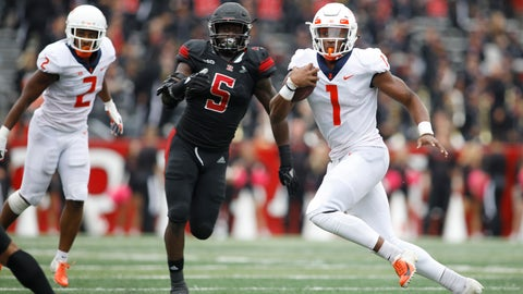 <p>               Illinois quarterback AJ Bush Jr. runs with the ball as Rutgers linebacker Trevor Morris (5) gives chase during the second half of an NCAA college football game Saturday, Oct. 6, 2018, in Piscataway, N.J. Illinois won 38-17. (AP Photo/David Boe)             </p>
